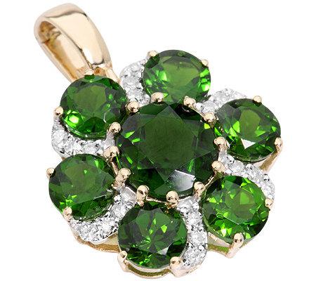Russischer Chromdiopsid 500ct Vario Anhänger 18 Diamanten 014ct Gold 585 Qvcde