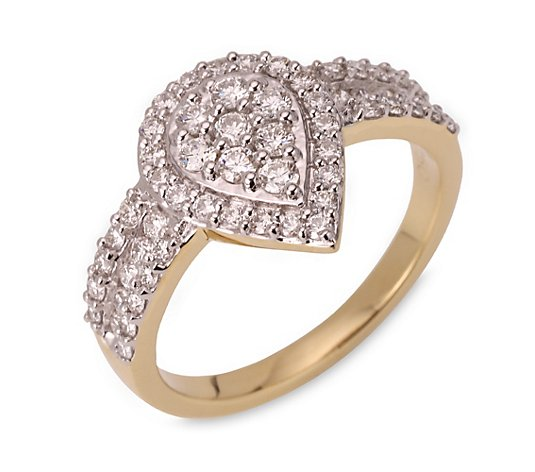CANADIAN DIAMONDS Tropfen-Ring 58 Brillanten zus. ca. 0,75ct Gold 750