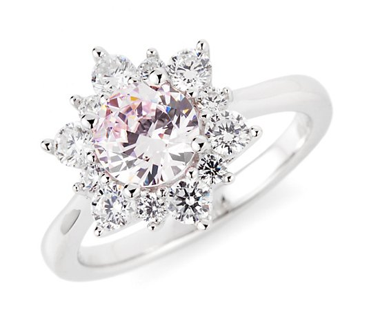 DIAMONIQUE® Ring = 2,28ct Brillantschliff Silber rhodiniert