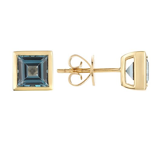 London Blautopas Ohrstecker ca. 2,60ct Zargenfassung Gold 375