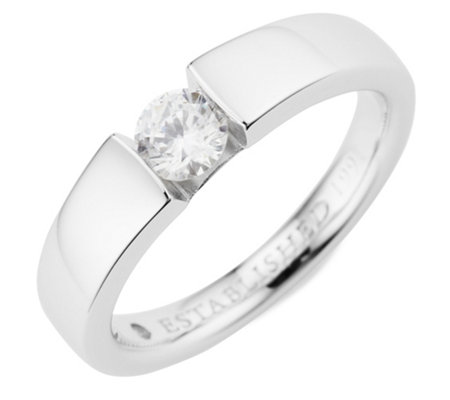 DIAMONIQUE® Ring = 0,51ct Brillantschliff Silber rhodiniert