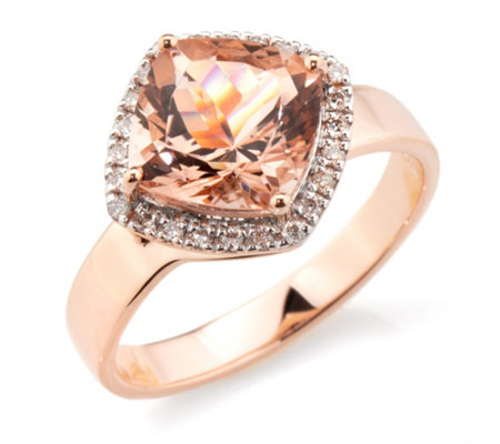 Morganit Ring AAA / 2,75ct 24 Brillanten 0,09ct Roségold 585