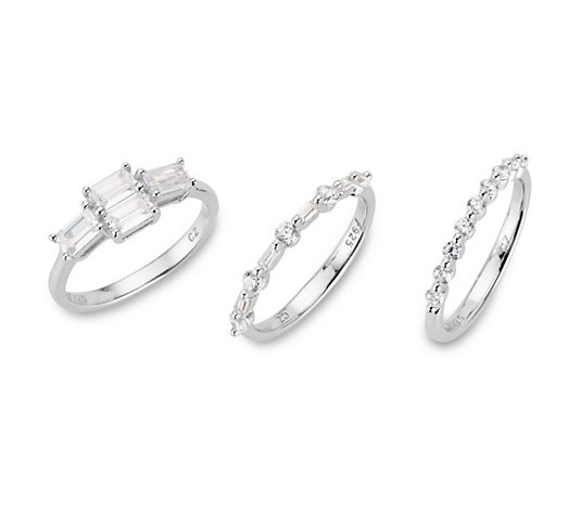 DIAMONIQUE® 3tlg. Ring-Set = 1,89ct Schliffmix Silber rhodiniert