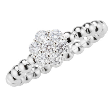 DIAMONIQUE® Ring = 0,35ct Brillantschliff Silber rhodiniert