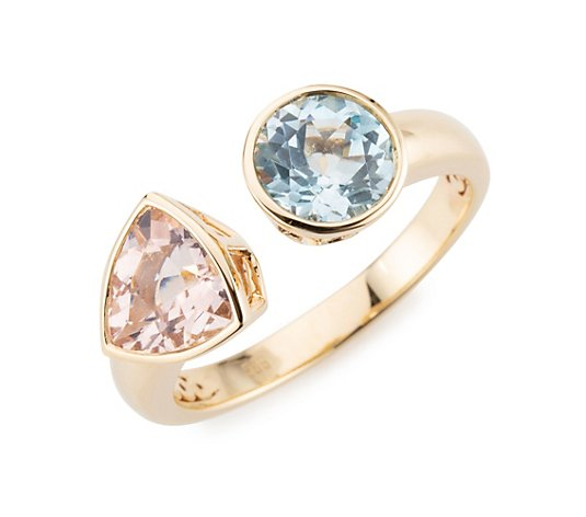 ROYELLE Ring Morganit ca. 1,30ct Aquamarin ca. 1,20ct Gold 585