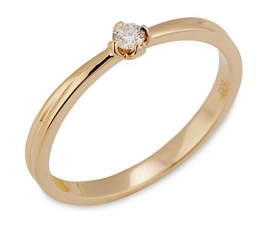 Ring 1 Brillant ca. 0,08ct Weiß/P1 Gold 585