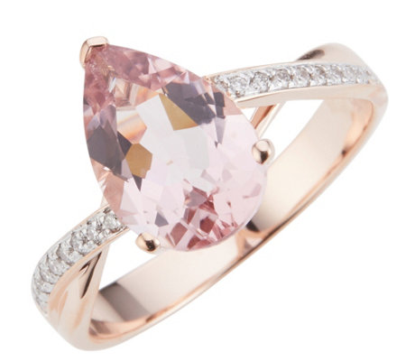 Morganit Ring AAA / 2,50ct Brillanten 0,05ct Roségold 585