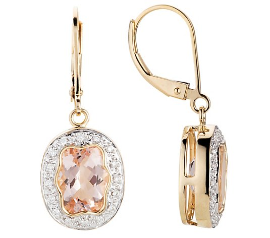 ROYELLE Morganite 4,00ct Ohrhänger Brillanten ca. 0,16ct Gold 585