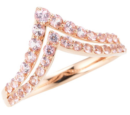 Rose Spinell V-Ring zus. ca. 0,60ct Rundschliff Roségold 585