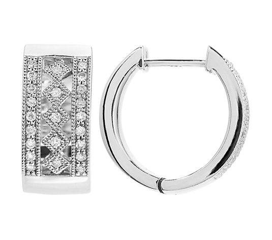 ART DECO DIAMONDS Creolen 46 Diamanten zus. ca. 0,27ct Silber 925