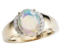 Afrikanischer Opal 1,06ct Ring, facettiert Brillanten 0,06ct Gold 585 - 606666