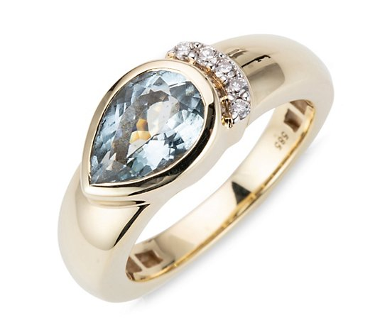 ROYELLE Premium Aquamarin Ring Brillanten ca. 0,06ct Gold 585