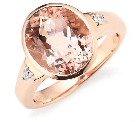 Morganit Solitär-Ring AAA / 4,00ct Brillanten 0,06ct Roségold 585