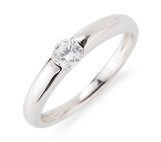 DIAMONIQUE® Ring = 0,28ct Brillantschliff Silber rhodiniert