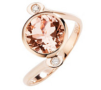 Morganit Croisé-Ring AAA / 2,50ct 2 Brillanten 0,08ct Roségold 585 - 606874