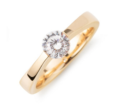 DIAMONIQUE® Ring = 0,90ct Sunburst Schliff Silber vergoldet