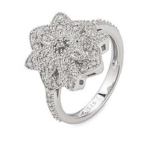 ART DECO DIAMONDS Ring 20 Diamanten 0,14ct 9 Brillanten 0,07ct Silber 925