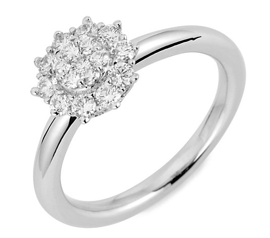 SIBERIAN DIAMONDS Entourage-Ring 17 Brillanten zus. ca. 0,50ct Weißgold 750