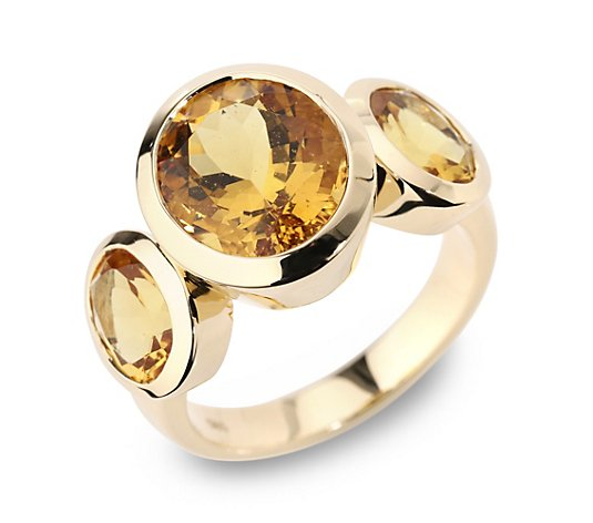 Goldberyll Trilogie-Ring zus. ca. 6,36ct Ovalschliff Gold 585