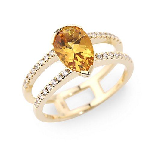 Goldberyll Cocktail-Ring ca. 2,29ct Brillanten 0,32ct Gold 585