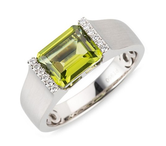 PLATINITY Ring Peridot ca. 2,30ct 12 Brillanten 0,06ct Platin 950
