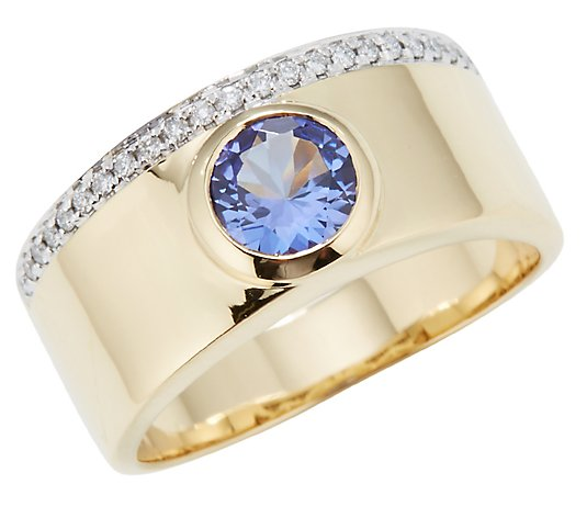 1st Class Tansanit 0,75ct Ring 23 Brillanten 0,09ct Gold 750