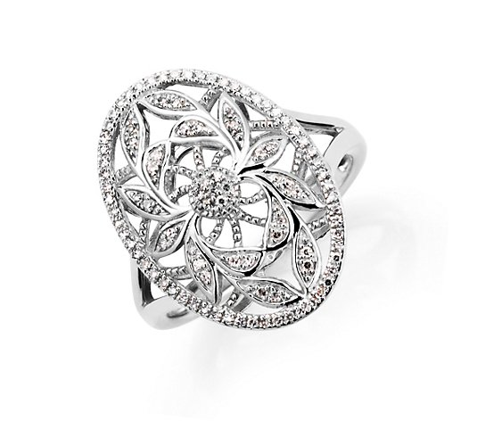 ART DECO DIAMONDS Ring 95 Diamanten zus. ca. 0,20ct Silber 925