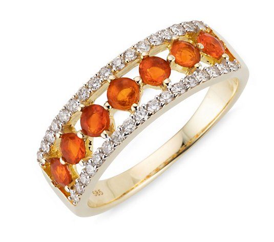 ROYELLE Feueropal 0,42ct Ring Brillanten ca. 0,34ct Gold 585