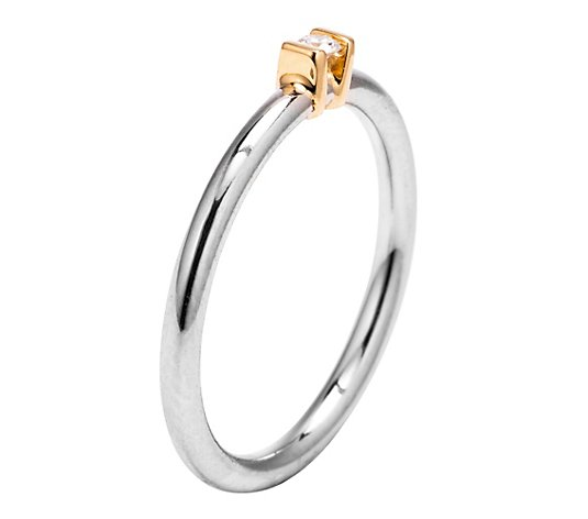 Ring 1 Brillant ca. 0,05ct Weiß/SI Platin 950/Gold 750