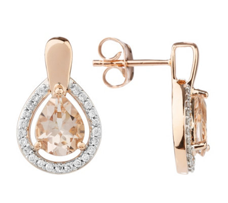 Morganit Ohrstecker AAA / 1,62ct Brillanten 0,20ct Roségold 585