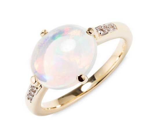 Afrikanischer Opal Ring ca. 2,50ct 6 Brillanten 0,03ct Gold 585