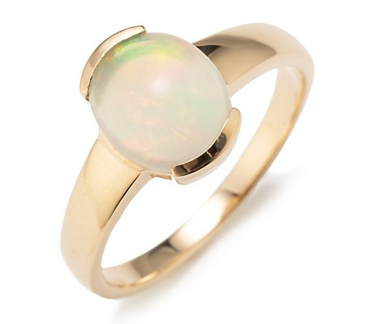 Afrikanischer Opal Ring mindestens 1,60ct Cabochon oval Gold 585