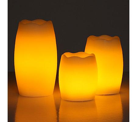 Qvc Elambia Kerzen Mit Timer.Elambia Flammenlose Kerzen Glimmdocht Timer Ovale Form Rustic Struktur Qvc De