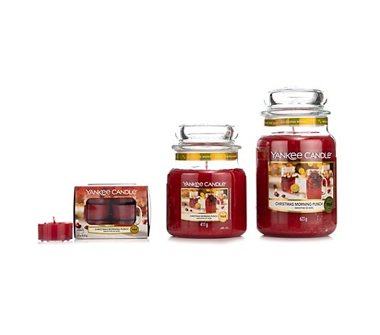 YANKEE CANDLE® Duftkerzen-Set Christmas Morning Punch, Vorteils-Set je 118g, 411g & 623g
