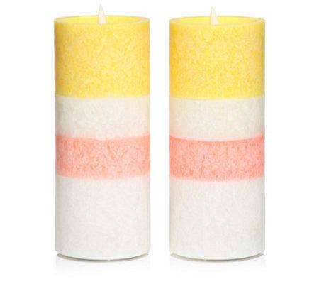 ELAMBIA 2 LED-Kerzen Macaron-Trendfarben Flamme Luma Timer, Höhe ca. 18cm —  QVC.de