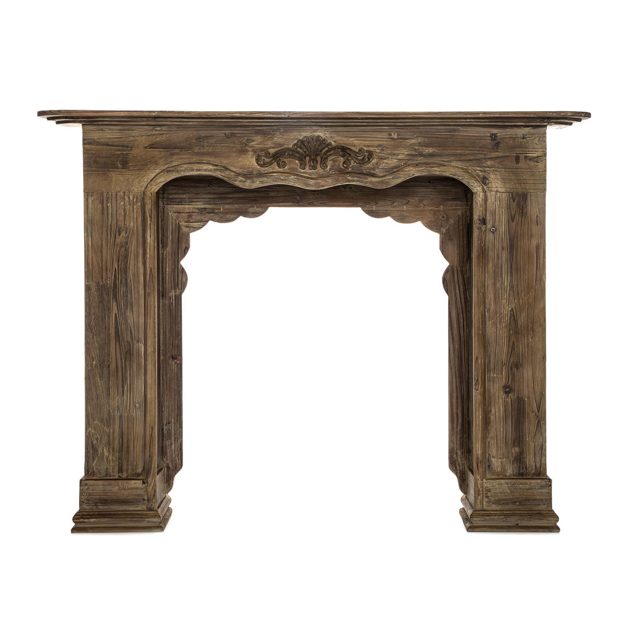 My Home Stories Holz Kaminkonsole Lasiert Ca 130x23x100cm Qvc De