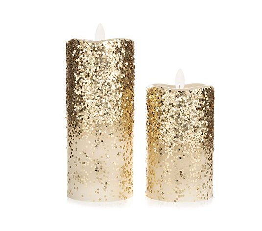ELAMBIA 2 LED-Kerzen Glitter-Finish Mirage Höhe 12,7 & 17,8cm