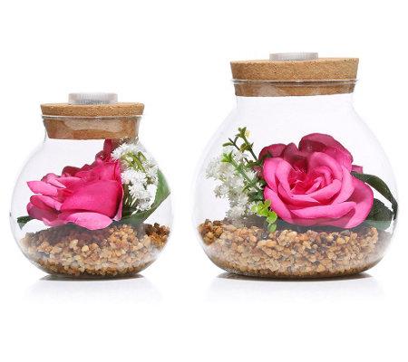 LUMIDA Flora leuchtende Blumen Rose im beleuchteten Glas H ...