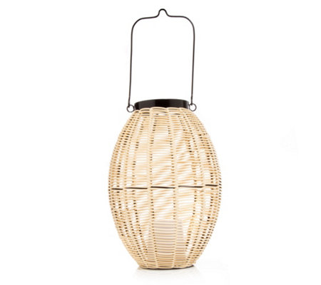 LUMIDA Casa Laterne Rattan-Optik Timerfunktion ca. 21x21x28cm