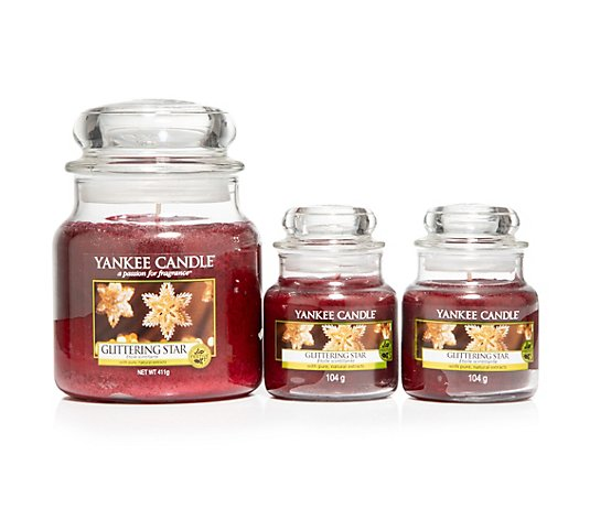 YANKEE CANDLE® Duftkerzen-Set 2 Small Jars je 104g 1 Medium Jar 411g Brenndauer bis 135h