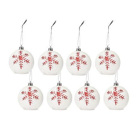 Led Weihnachtskugeln.Led Weihnachtskugeln Mit Glittermotiv Kabellos Mit Timer Inkl Knopfzellen øca 6 5cm 8tlg Qvc De