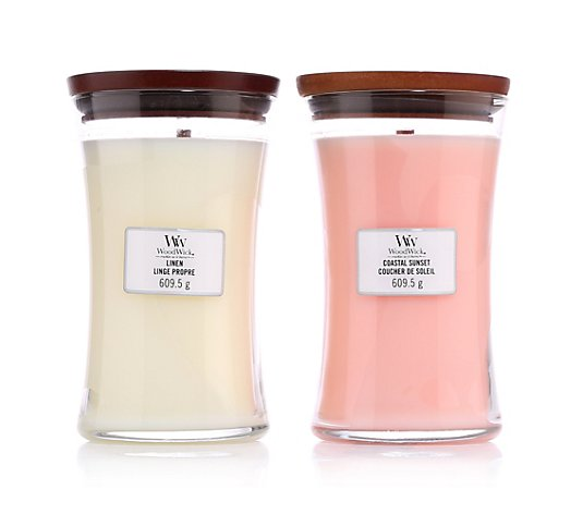 WOODWICK® Duftkerzen-Set Linen & Coastal Sunset 2 Large Jars je 610g