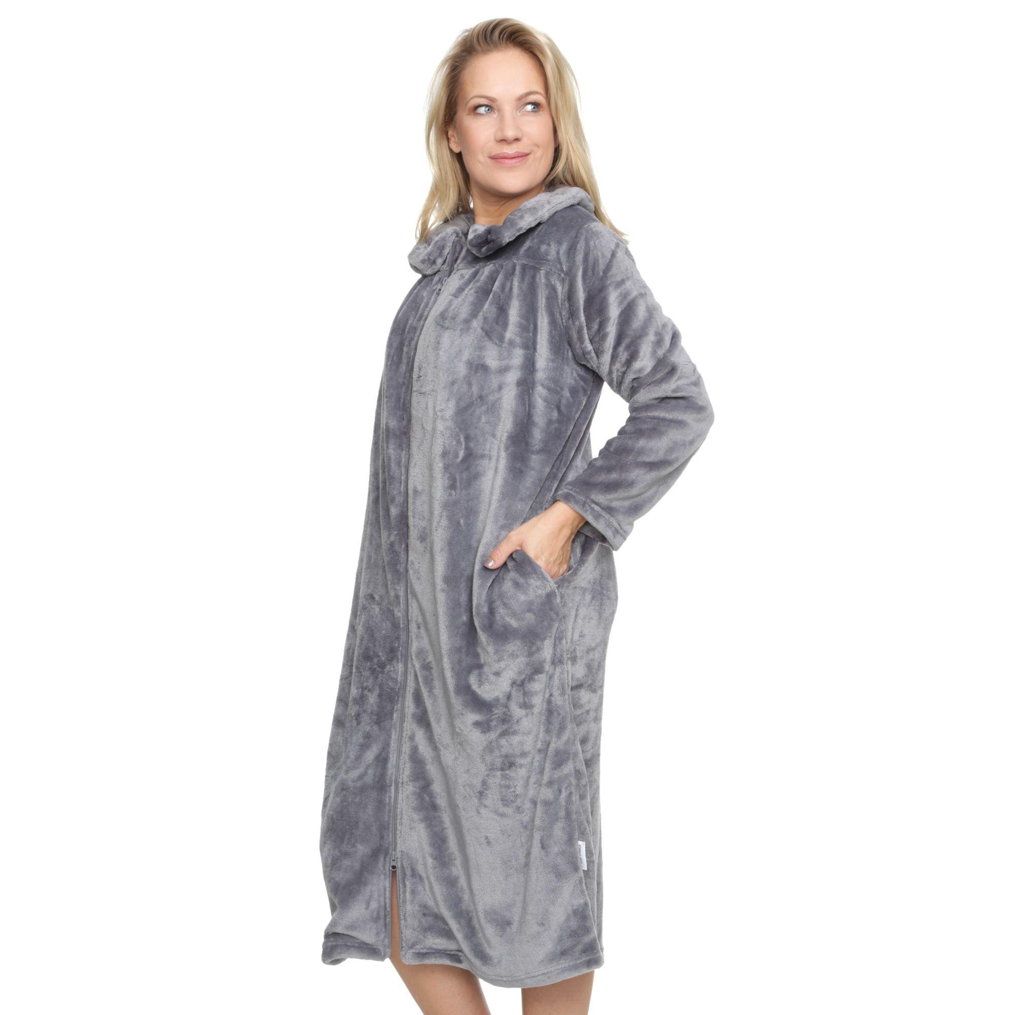 MONT CHALET Damen-Hauskleid extra lang Mikrofaser ...