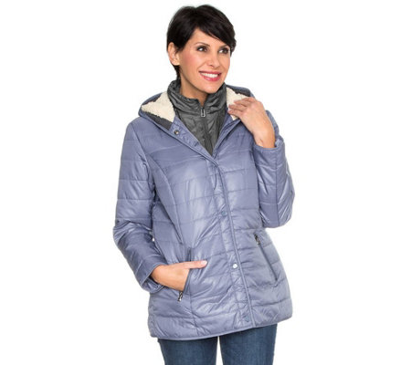 B-Ware DENIM & CO. Steppjacke 2in1-Optik 2-Wege-Zipper