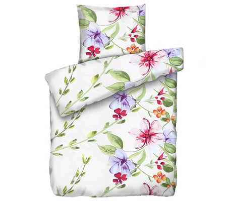 Apricasa Mf Glatt Gewebt Bettwäsche Blumen Einzelbett 2tlg Page