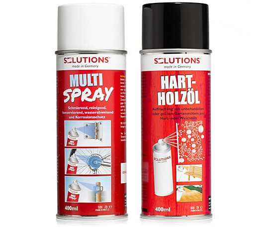 SOLUTIONS Outdoor Pflege-Set Hartholzöl-Spray Multi-Spray 2x 400ml
