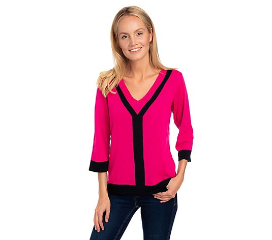 B-Ware THE JETSETTERS Pullover, 3/4-Arm schmale Form V-Ausschnitt