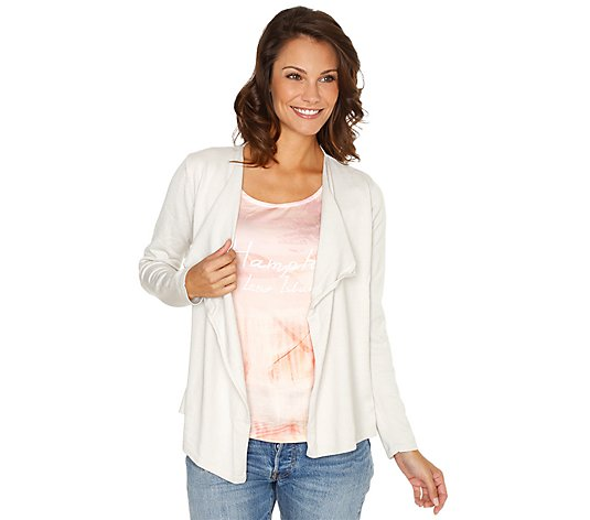 B-Ware FRIEDA LOVES NYC Cardigan, 2in1-Optik Soft Cotton vorne Satin
