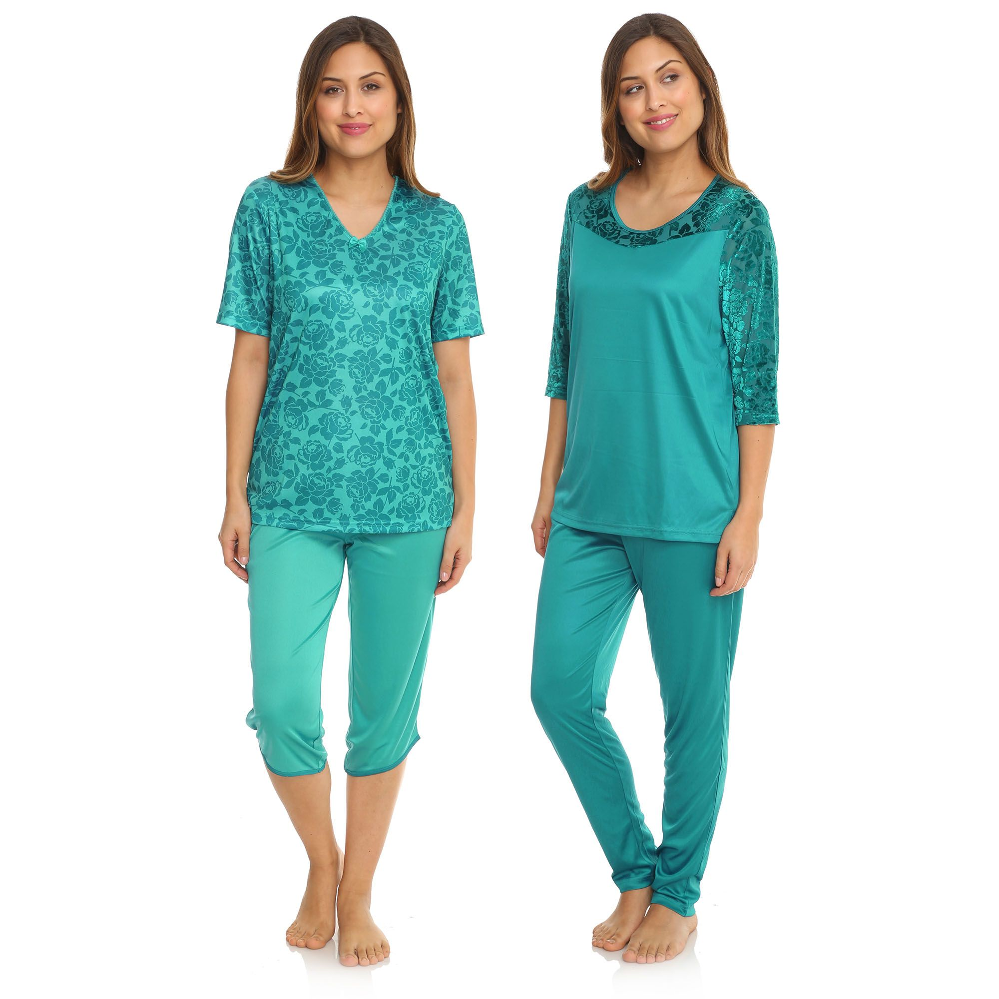 B-Ware LITTLE ROSE 2 Pyjamas Mikrofaser lange & kurze Form ...