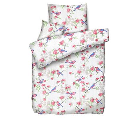 Soft Wave Mf Seersucker Bettwäsche Blumen Vögel Einzelbett 3tlg